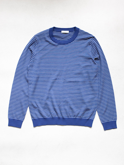 niuhans Pinstripe Crew Neck Sweater (Blue) ※別注