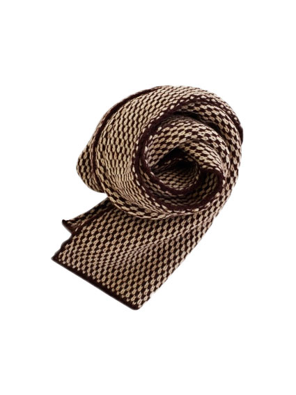 Wool Jacquard muffler (Brown)