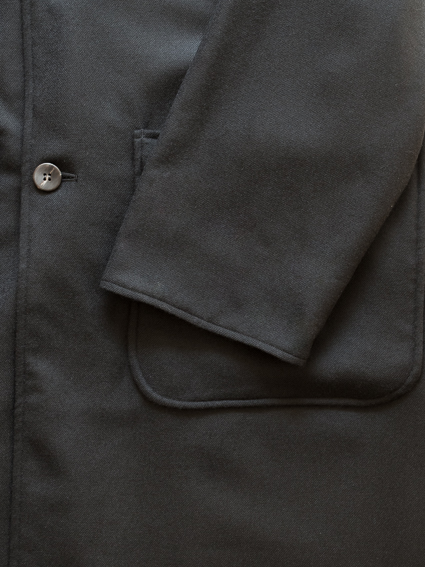 Wool serge coat (Black) - Men`s