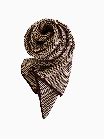Wool Jacquard Stole (Brown)