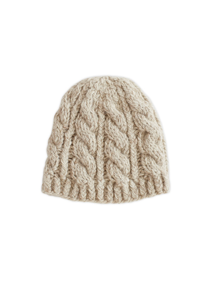 Cashmere Cable Knit Cap (Ivory)