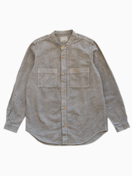 Linen Cotton Stand Up Collar Work Shirt (Gray)