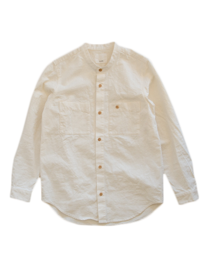 Linen Cotton Stand Up Collar Work Shirt (Natural)